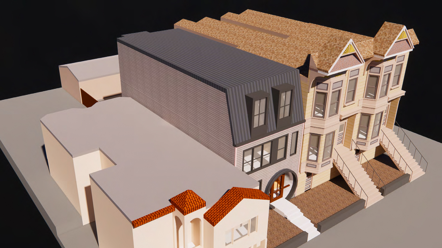 1112 Shotwell Avenue aerial view, rendering by Kerman Morris Architects