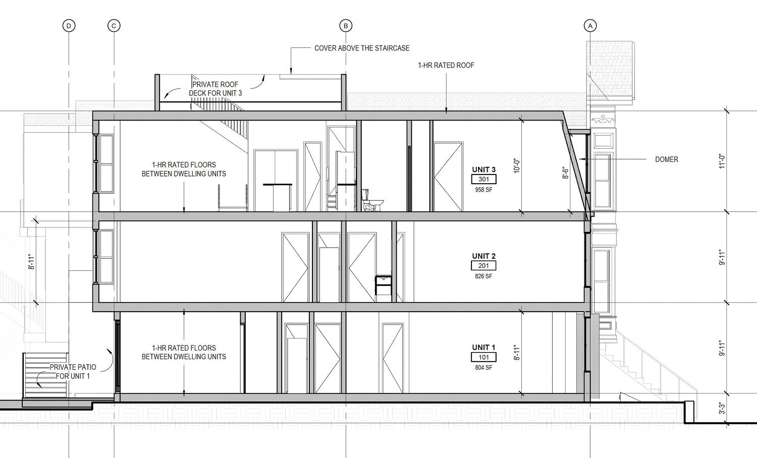 1112 Shotwell Avenue vertical elevation, illustration by Kerman Morris Architects