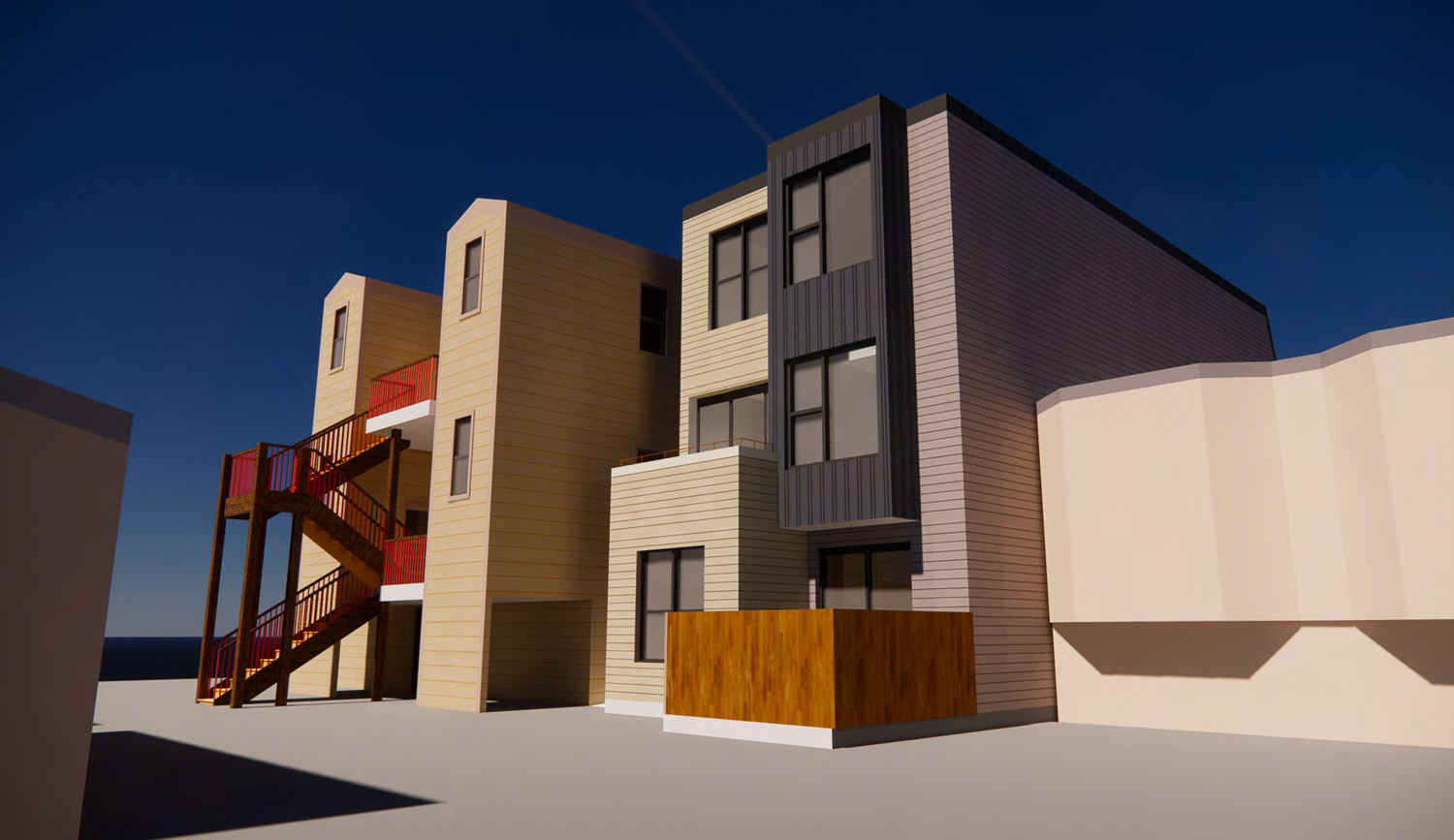 1112 Shotwell Street rear yard view with fences not illustrated, rendering by Kerman Morris Architects