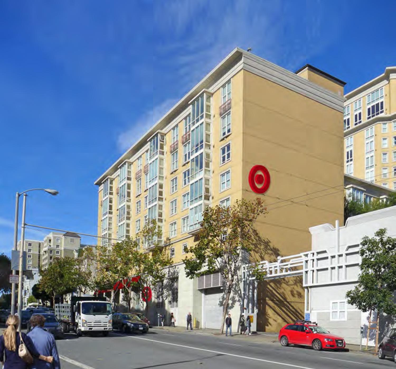 1336 Post Street Target branding on the eastern face