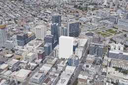 1338-1370 Mission Street estimated form generated by SFYIMBY, image via Google Satellite