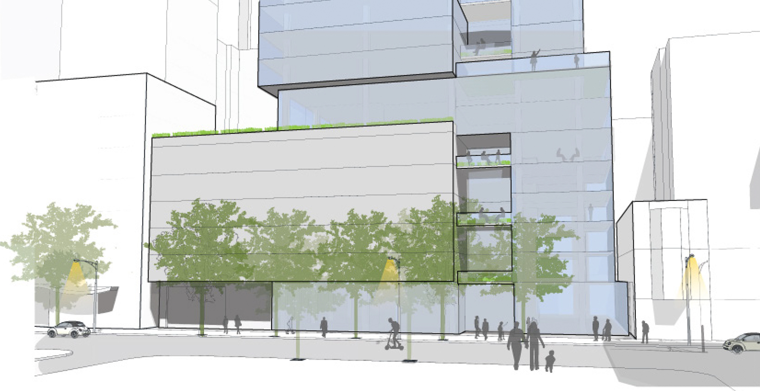 1338-1370 Mission Street ground activity along Mission Street, rendering by SmithGroup