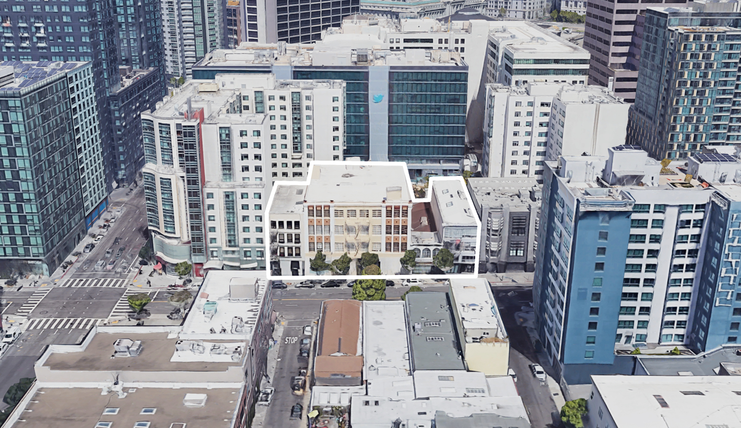 1338-1370 Mission Street with neighboring high-density development, image via Google Satellite