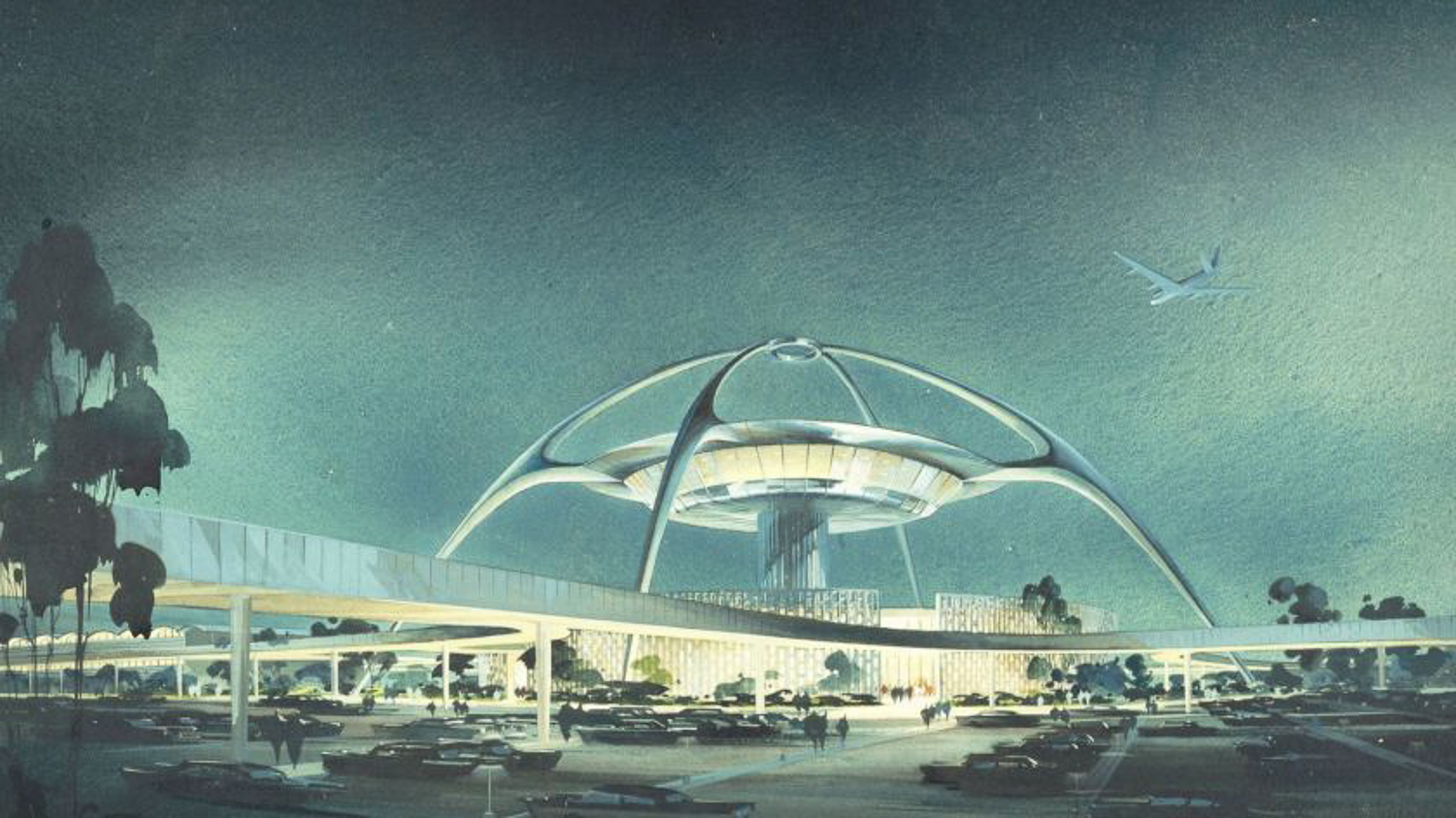 1961 Architectural illustration of the LAX Theme Building, image via the Luckman Partnership Inc, Getty Trust