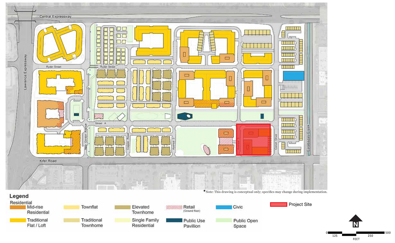 2904 Corvin Drive project site highlighted in red, illustration from the City of Santa Clara Lawrence Station Area Plan of 2016