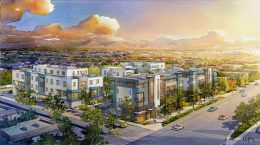 3035 El Camino Real aerial view with a mountain range in the background, artist illustration, design by WHA