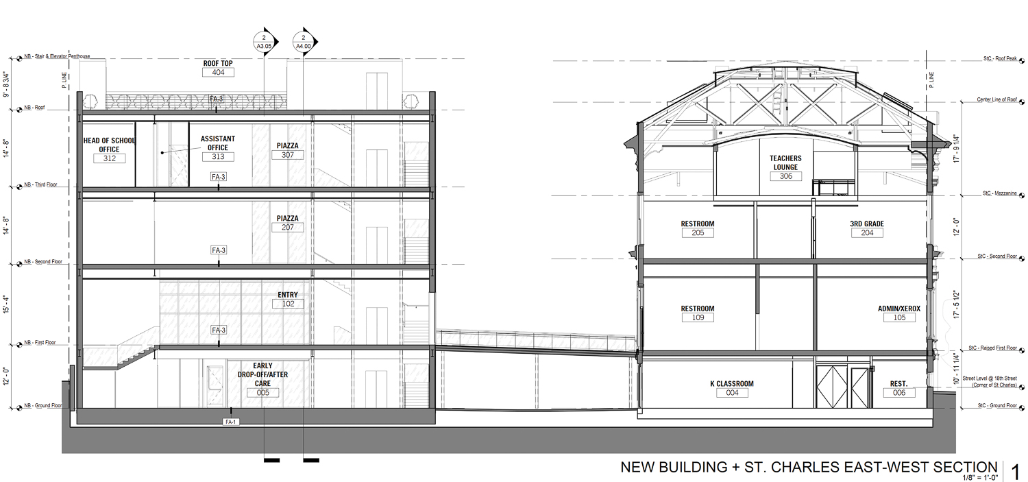 3250 and 3270 18th Street east-west section, elevation by Perkins&Will and ZPZ Partners