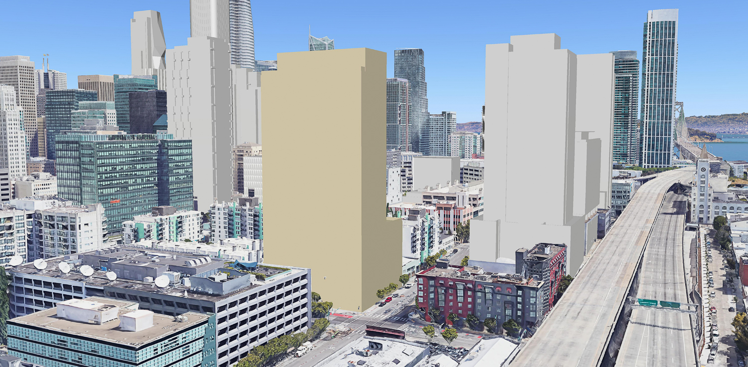 395 3rd Street with a massing for 95 Hawthorne to the left and the three-structure One Vassar project to the right, massing by Solomon Cordwell Buenz