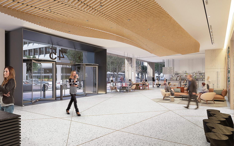 45 Fremont Street lobby, rendering via Shorenstein