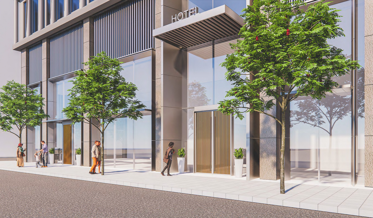 530 Sansome Street hotel lobby entry, rendering by SOM
