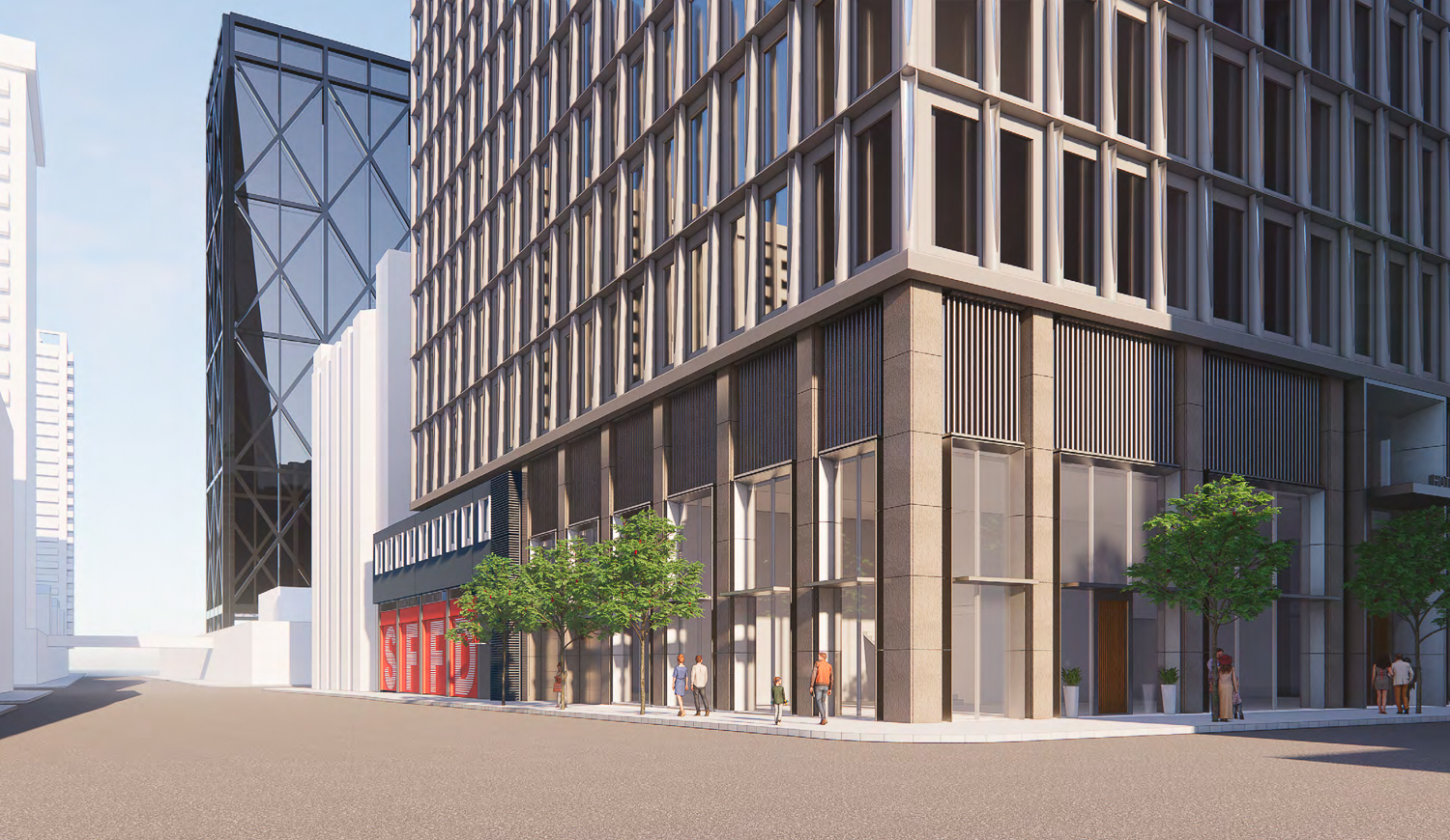 530 Sansome Street hotel project variant, rendering by SOM