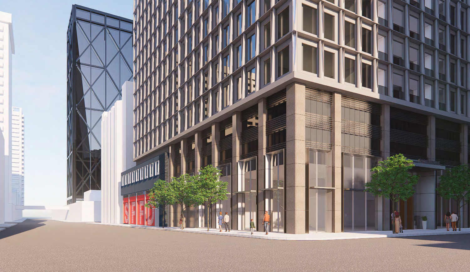 530 Sansome Street residential project variant podium view, rendering by SOM
