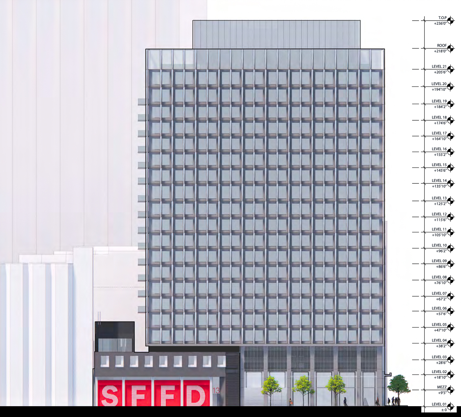 530 Sansome Street residential project varient elevation, rendering by SOM