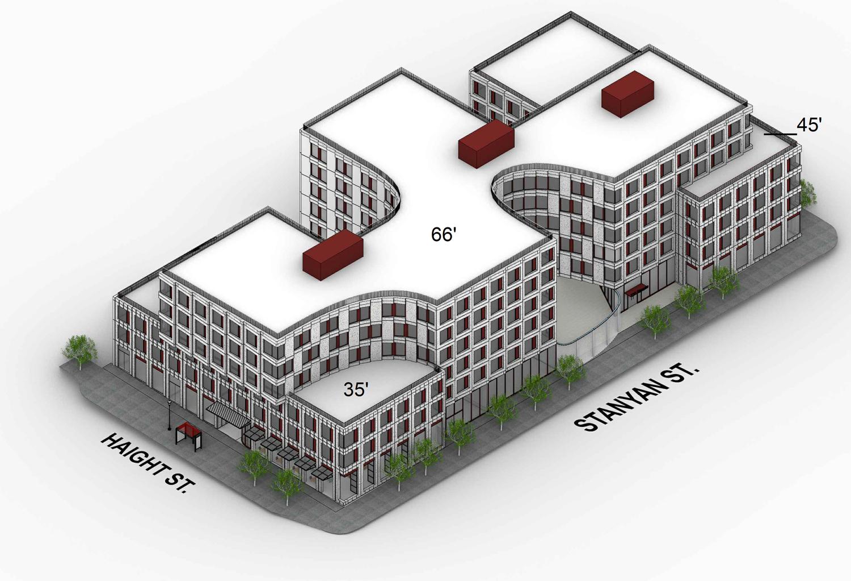 730 Stanyan Street northwest axonometric, design by OMA