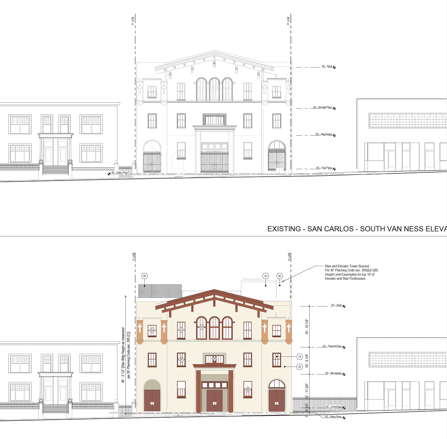 741 South Van Ness existing facade (top) and proposed refurbishing (bottom), Perkins&Will and ZPZ Partners