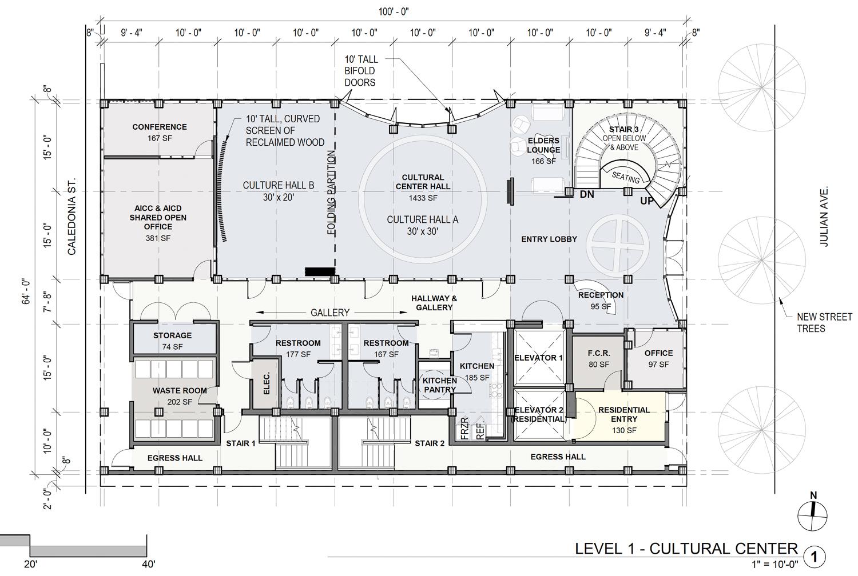 80 Julian Avenue ground level facilities, illustration by Pyatok