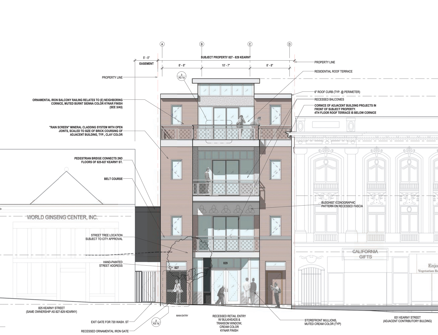 827-829 Kearny Street vertical elevation, illustration by Herman Coliver Locus Architecture