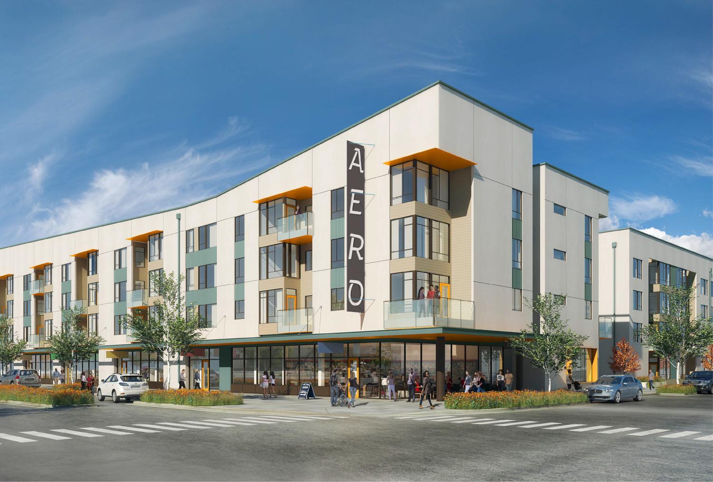 Aero Apartments street view, rendering via Pyatok Architects