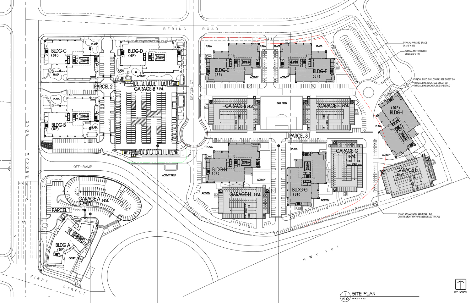 Brokaw Road offices floor plan, with the unbuilt phase three highlighted in grey, rendering by ArchiRender Architects