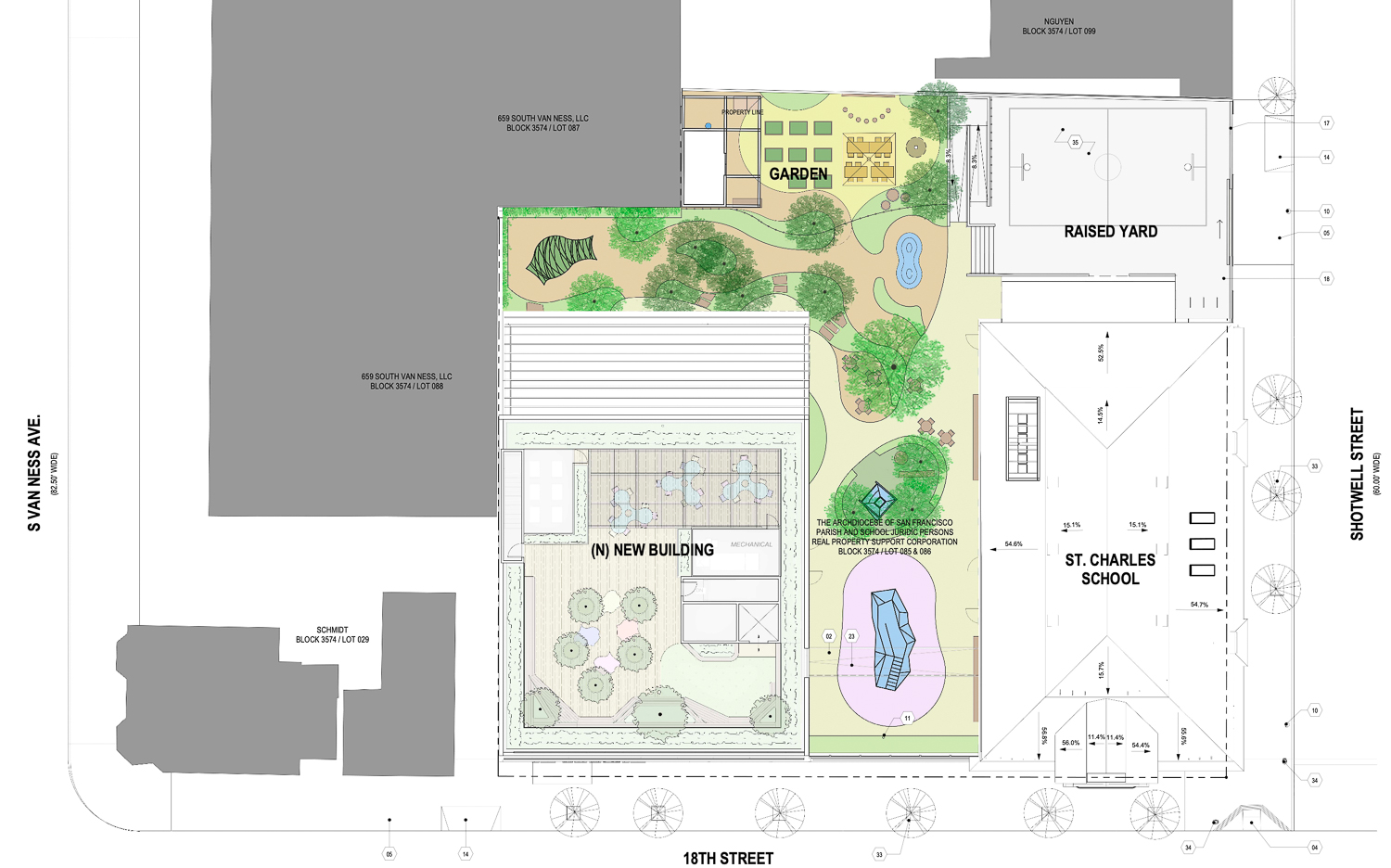La Scuola site plan with 3250 and 3270 18th Street, by Perkins&Will and ZPZ Partners