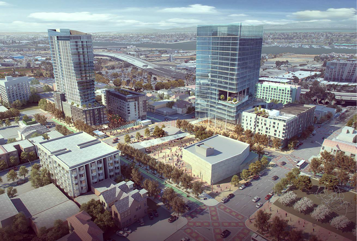 Lake Merritt BART Development aerial via, rendering via PYATOK