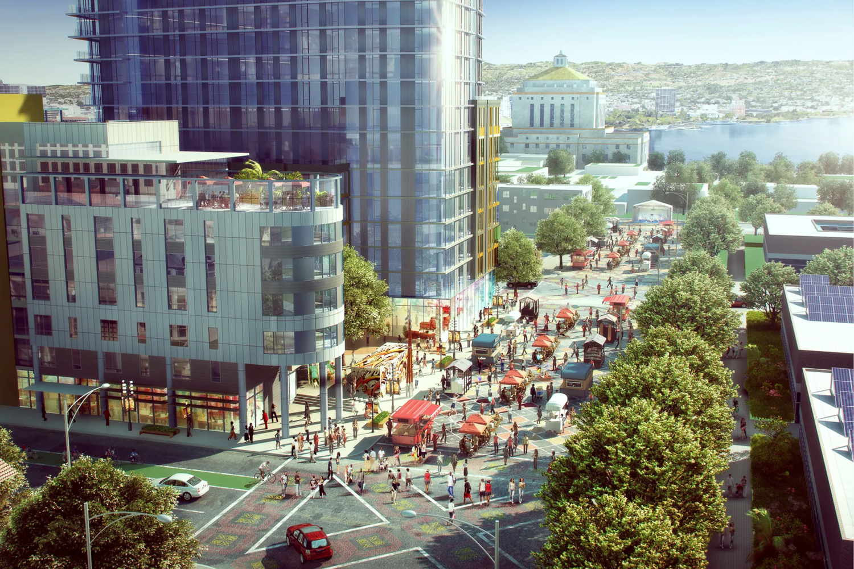 Lake Merritt BART Development plaza, rendering via PYATOK
