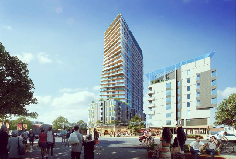 Lake Merritt BART Development residential tower at 51 9th Street, rendering via PYATOK