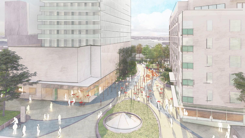 Lake Merritt BART proposal for Paseo plaza