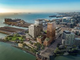 Mission Rock site north-west bird's eye view, image courtesy Mission Rock Partners, rendering by Binyan Studios