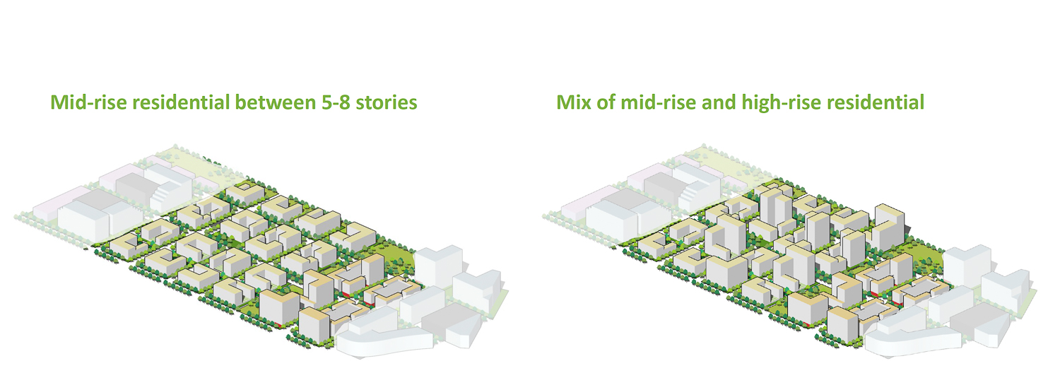 Moffett Park residential density analysis, mid-rise versus mid and high-rise construction