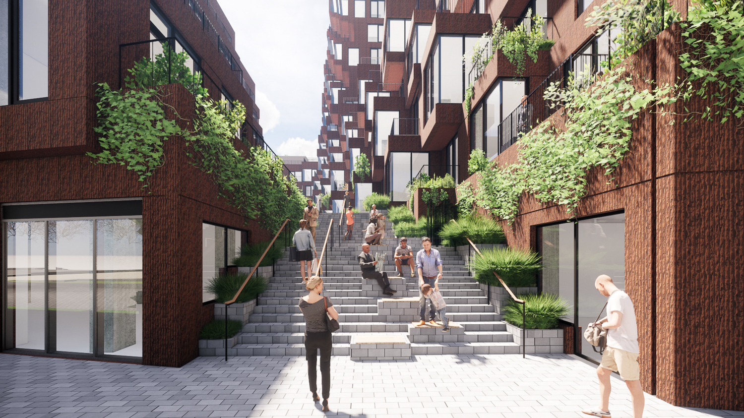 The Canyon at Parcel A courtyard street life, design by MVRDV, rendering by pixelflakes