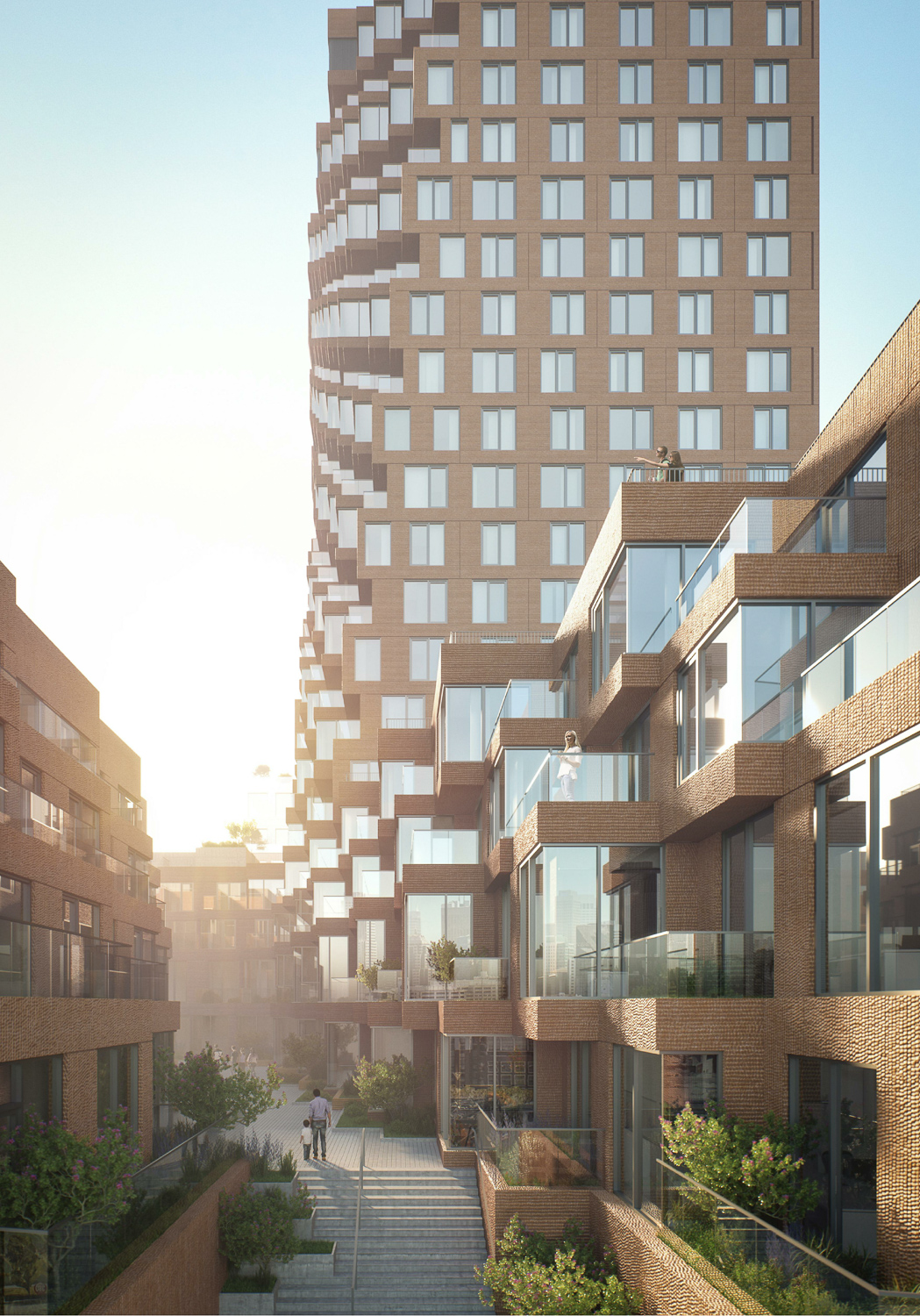 The Canyon at Parcel A narrow courtyard, design by MVRDV, rendering by pixelflakes
