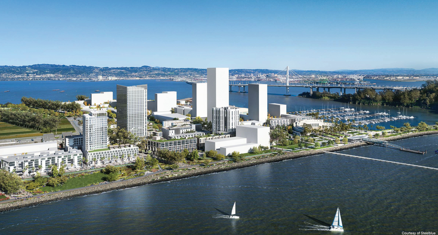 Treasure Island redevelopment at full buildout, Parcel C3.2 is adjacent to the much taller Parcel C2.1 tower and behind Parcel C3.5, rendering by Steelblue