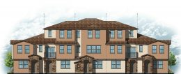 Tuscan Elevation six-plex front (top) and (rear) view, design by BSB Design