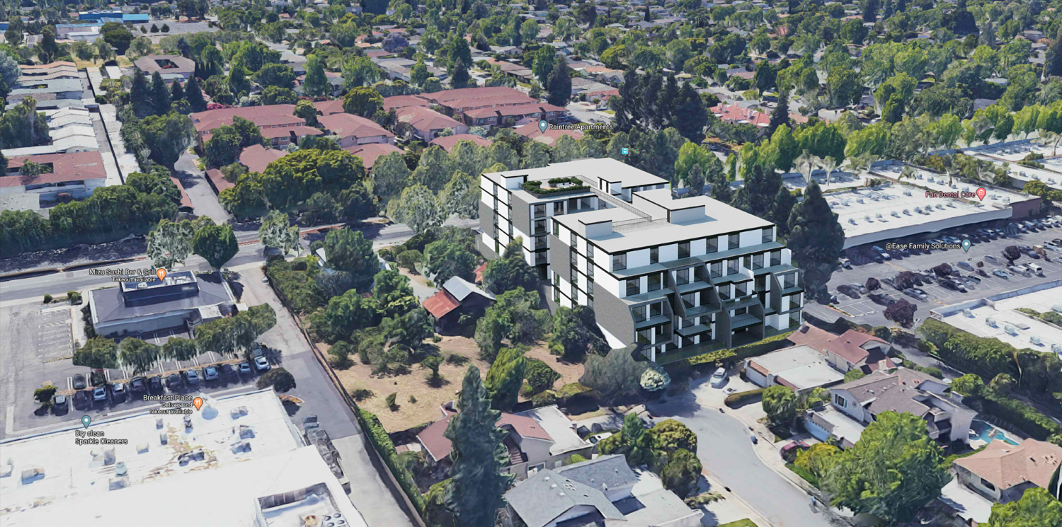 1073-1087 South Winchester Boulevard aerial view, rendering by Carpira Design Group