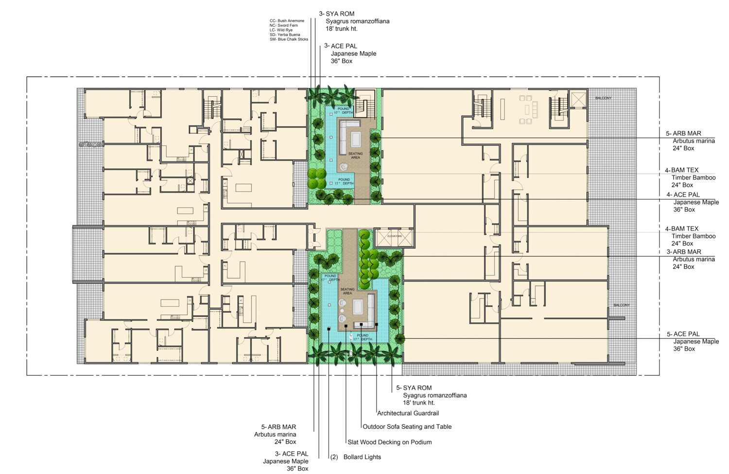 1073-1087 South Winchester Boulevard second-level amenity floor plan, rendering by Shila Yasmeh