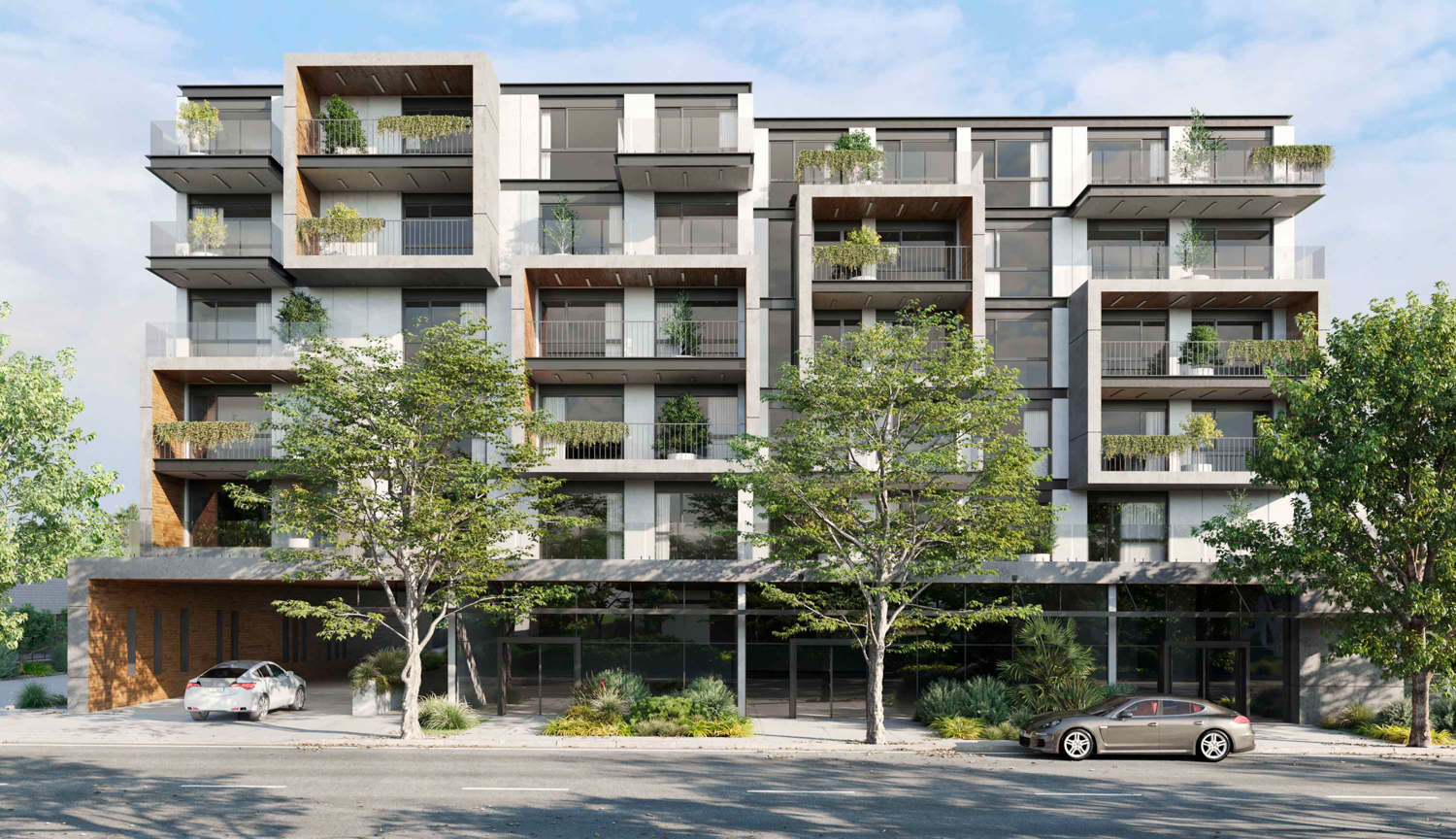 1073-1087 South Winchester Boulevard vertical elevation, rendering by Carpira Design Group