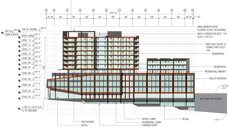 1200 Van Ness Avenue facade elevation, illustration by Woods Bagot