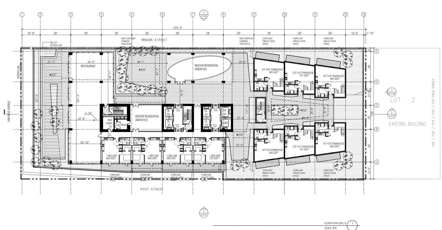 1200 Van Ness Avenue sixth-floor open area and courtyard afforded by cantilevering , design by Woods Bagot