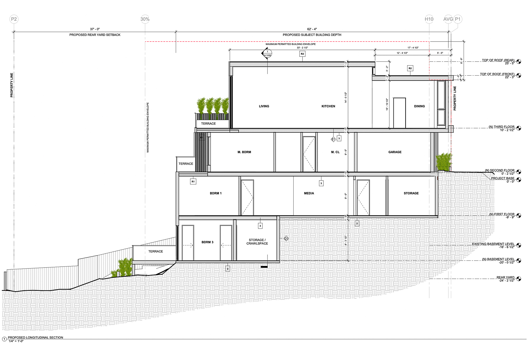 159 Laidley Street longitudinal section, elevation by Winder Gibson Architects