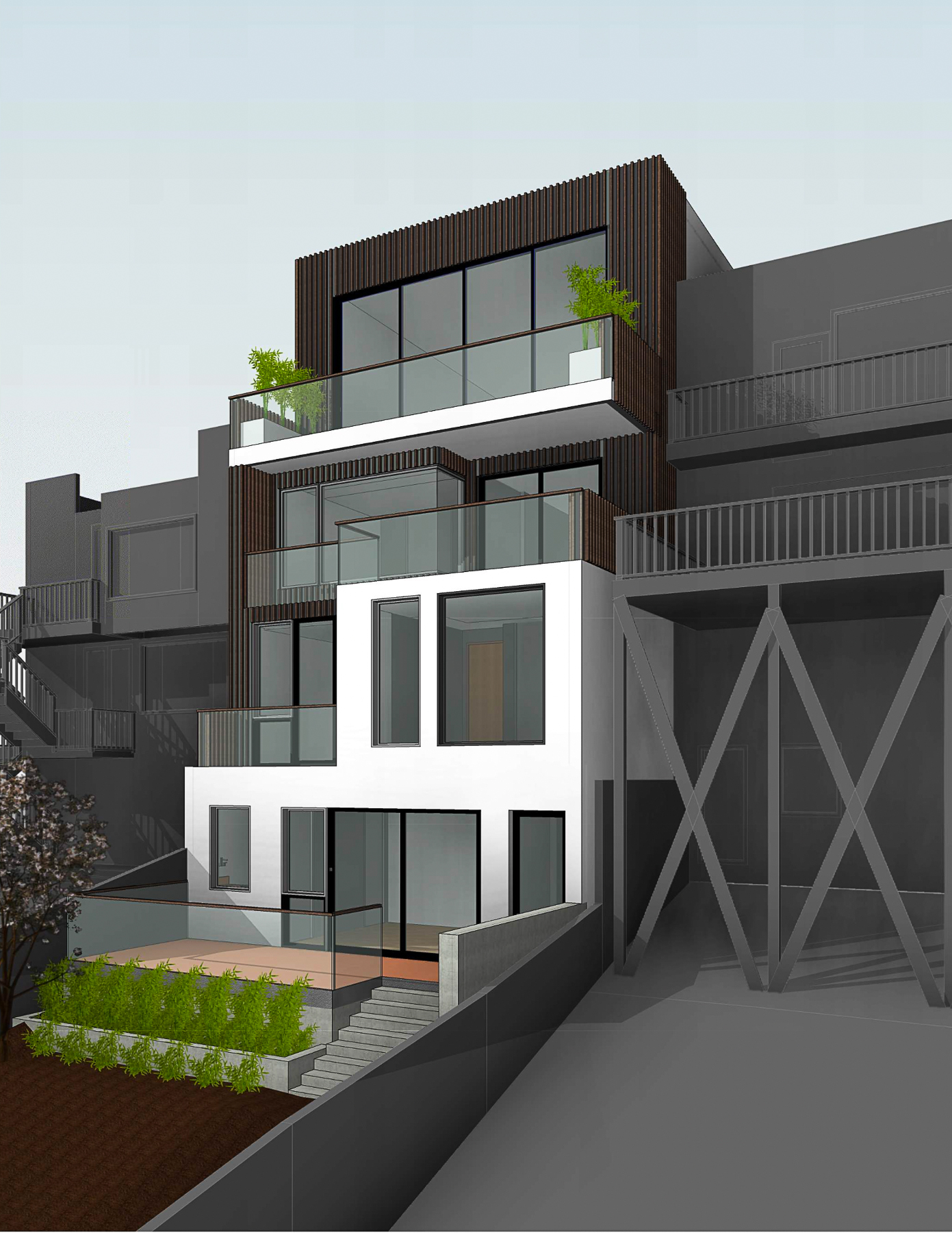 159 Laidley Street rear view, rendering by Winder Gibson Architects