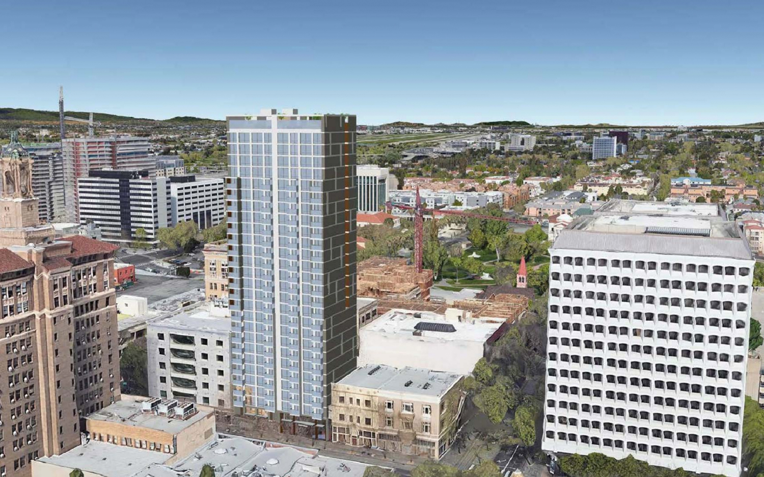 17 East Santa Clara Street aerial perspective looking north, design by Anderson Architects