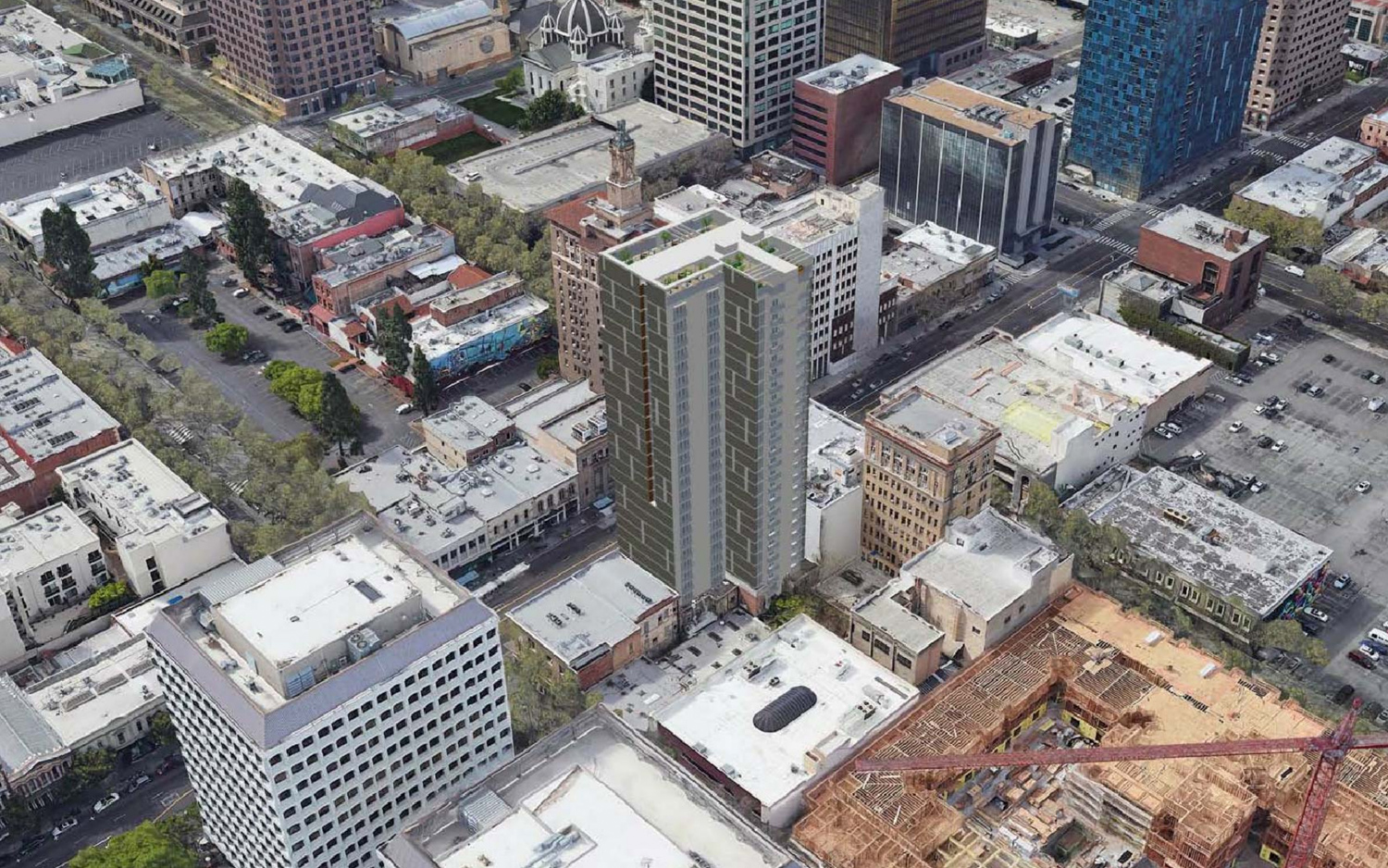 17 East Santa Clara Street aerial view, design by Anderson Architects