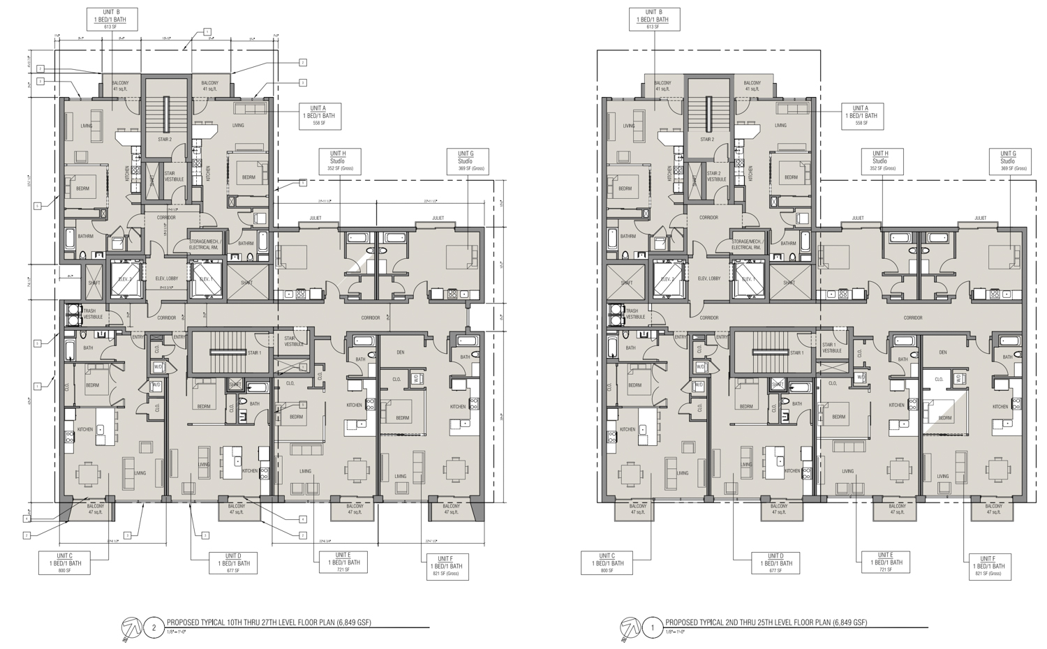 17 East Santa Clara Street residential floor plans, design by Anderson Architects