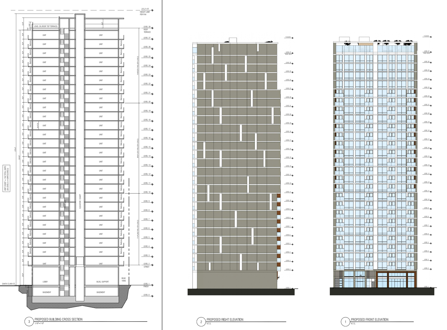 17 East Santa Clara Street vertical elevation, design by Anderson Architects