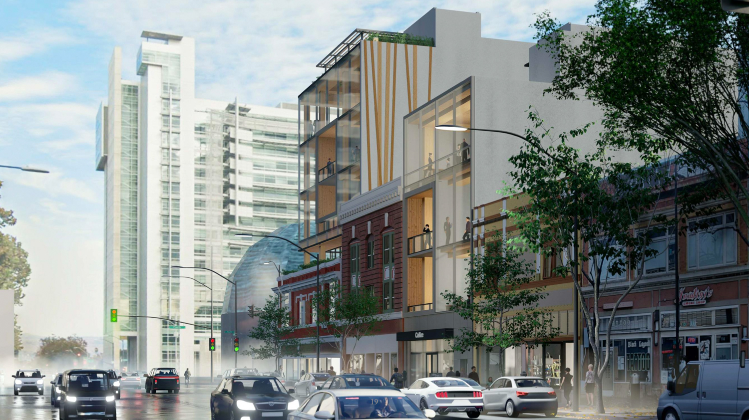 17 South Fourth Street with City Hall in the background, rendering courtesy Bayview Development Group