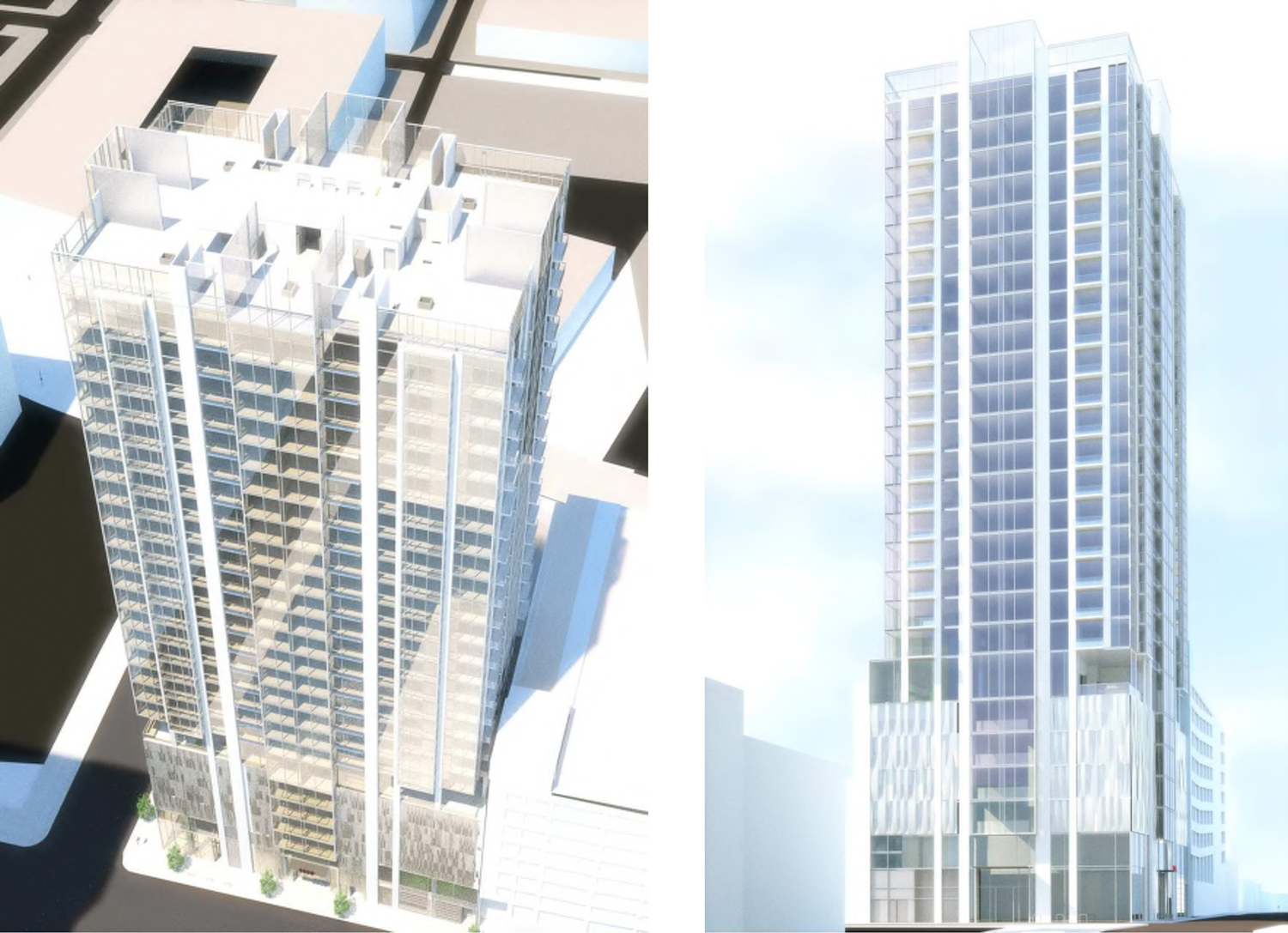 2305 Webster Street view of east facade (left) and view north on Webster (right) , rendering by Ankrom Moisan Architects