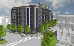 2800 Geary Boulevard corner view, rendering via ELEVATIONarchitects