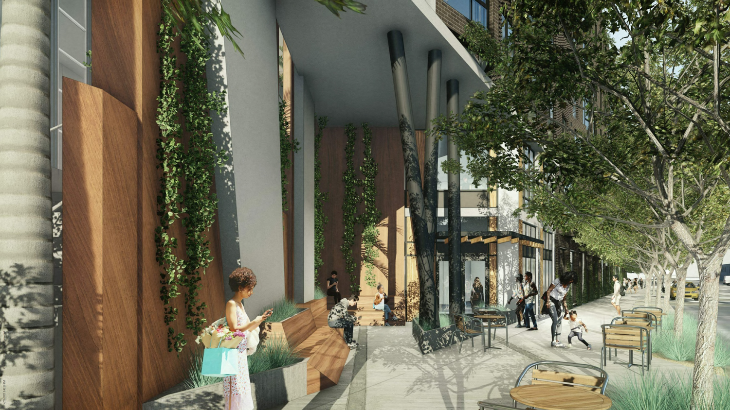 300 De Haro Street covered retail corner with nook for seating, rendering by BAR Architects