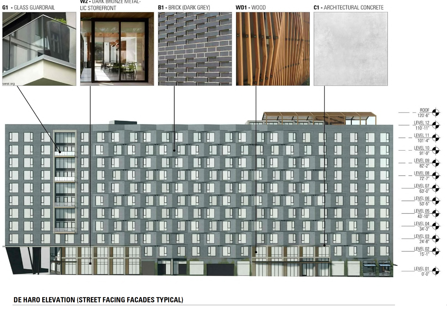 300 De Haro Street vertical facade elevation with materials listed, illustration from BAR Architects